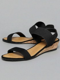 Head Over Heels Wedge Sandals, Wedge Sandals Online, Black Sandals, Ladies footwear, latest design footwear, ladies sandals wholesale, head over heels sandals India
